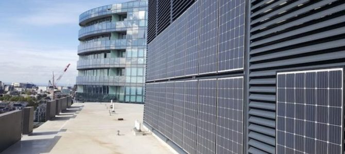 Vertical solar array delivers cheaper power for Melbourne apartment building